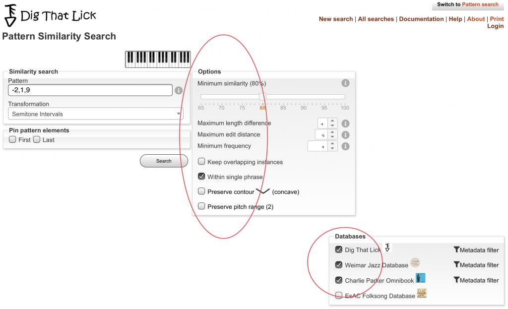 Dig That Lick Pattern Similarty Search -sovelluksen alkuasetukset ja tietovarantojen valinnat
