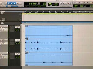 Pro Tools ohjelman editointi-ikkuna.