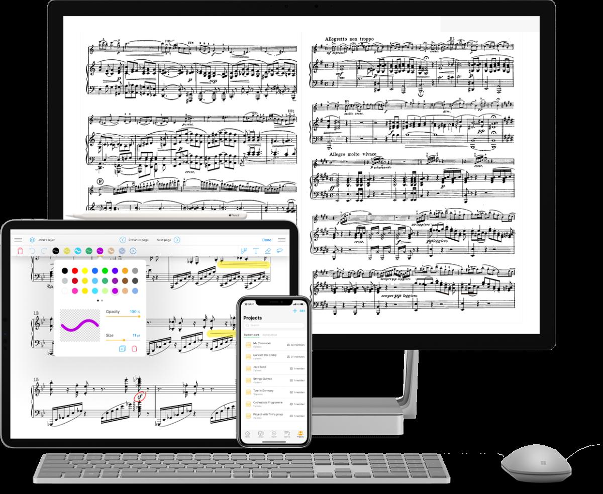 Newzik-notaatiosovelluksen käyttöliittymä eri laitteilla